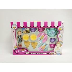 Delicious food and tea set  with a barbie kid friendly toy set No.:JH313-2