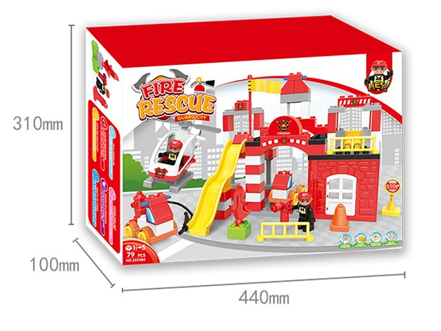 For kid fire department lego bricks in colour box educational toy No.:2852B2