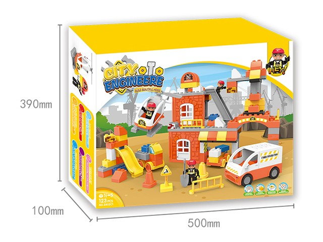 Wholesale construction team lego bricks in colour box kid learning toy No.:2852C1