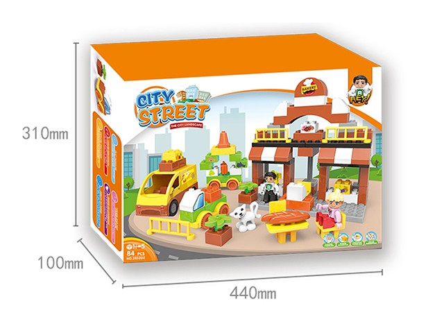 84 pcs lego bricks in city square in coloour box kid learn toy No.:2852D2