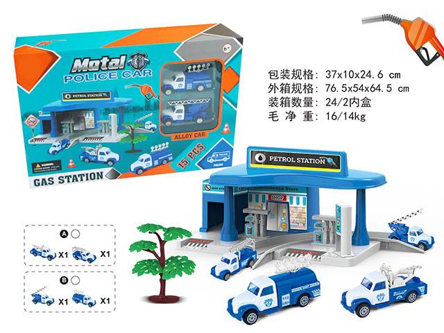 New toys alloy sliding function city gas station police car series funny educational toys No.:MH-019