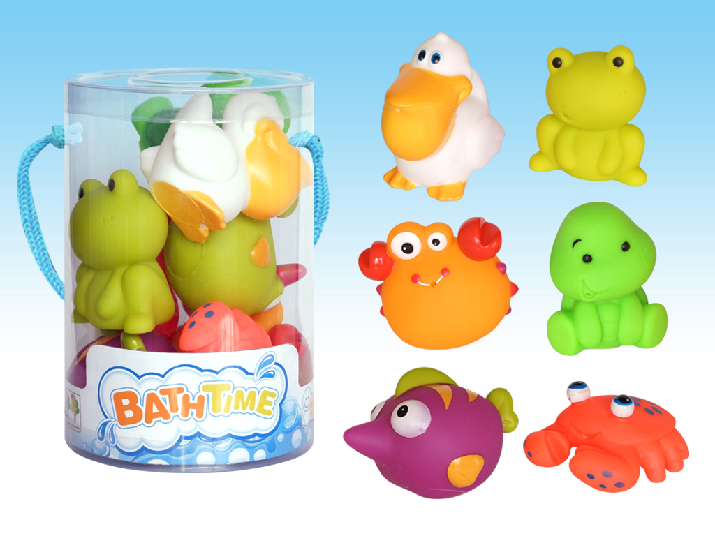 New style funny spray water animal in PVC tube children bath set No.:CQS610-5