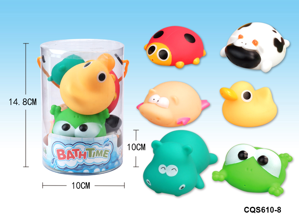 Lovely spray water animal ECO-friendly rubber bath toy No.:CQS610-8