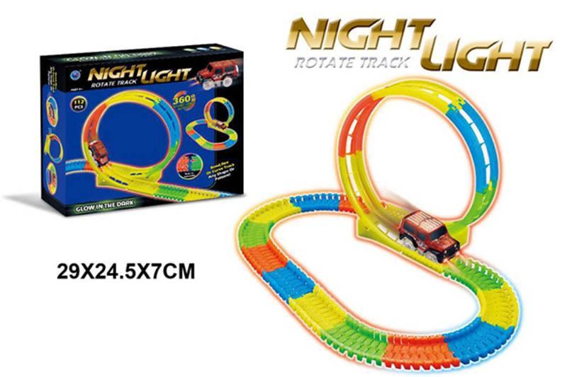 Electric rail car toy 360 degree twist, 112PCS, luminous track No.TA260356