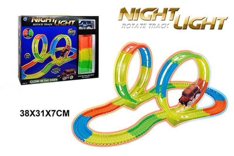 Electric rail car toy 360 degree twist, 152PCS, luminous track No.TA260357