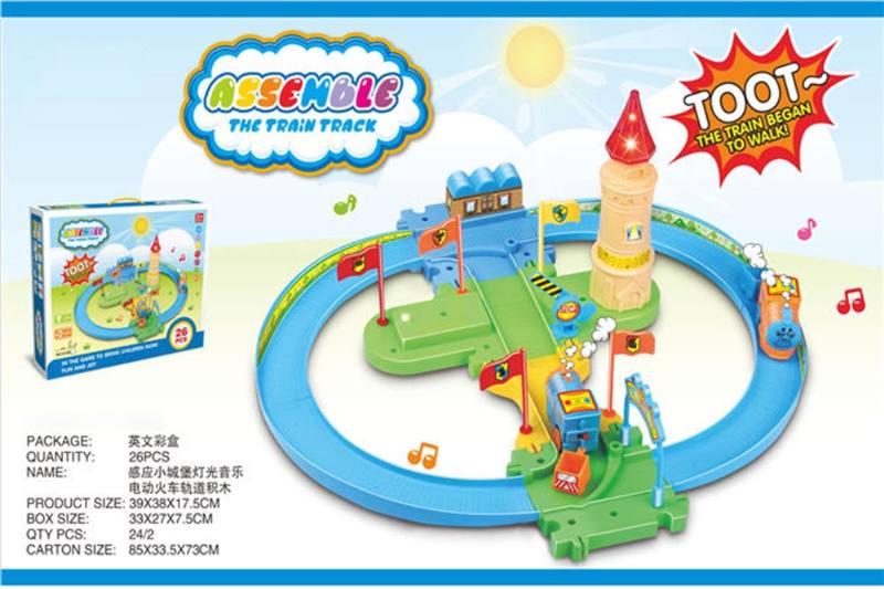 Electric train track building blocks with Induction light and music NO.TA262378