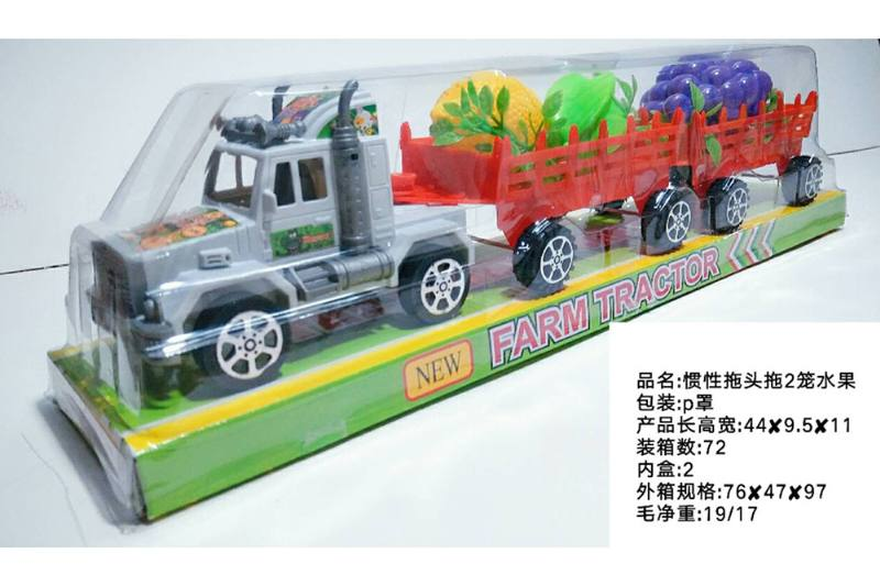 Inertia car toy Inertial tractor tow 2 cage fruit No.TA258538