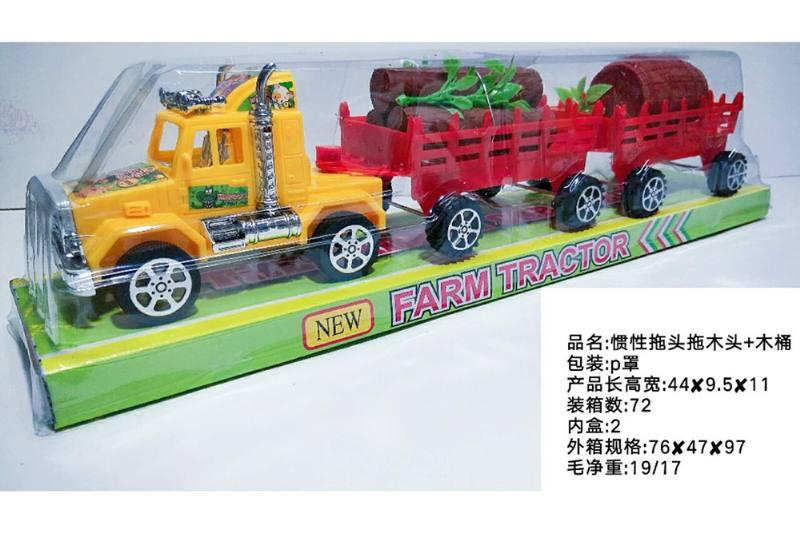 Inertia car toy Inertial tractor tow wood + barrel No.TA258551