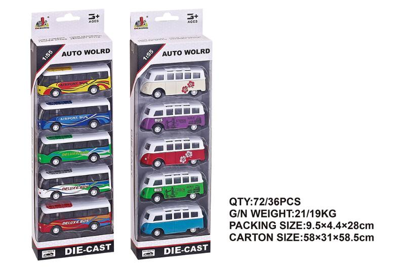 1:55 alloy pull back bus car pull back toy car NO.TA262404