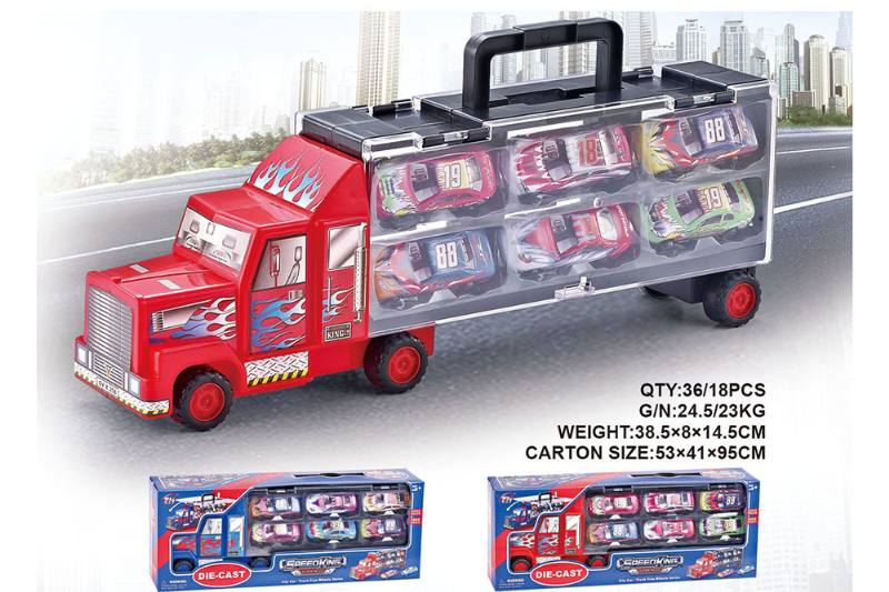 Container transporter with 6 trolleys toy car NO.TA262497