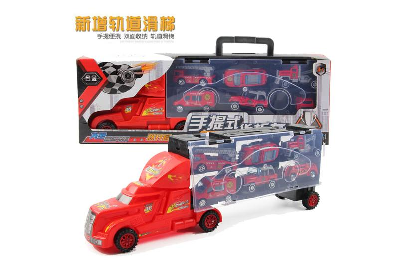 Alloy scooter container truck with 6 fire trucks No.TA260678