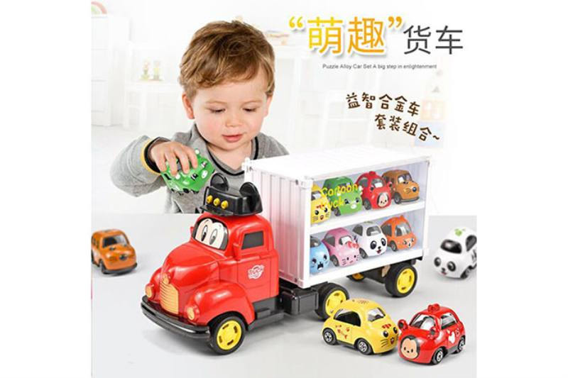 Multi-function Mickey container truck (with 8 alloy cartoon cars) No.TA260682