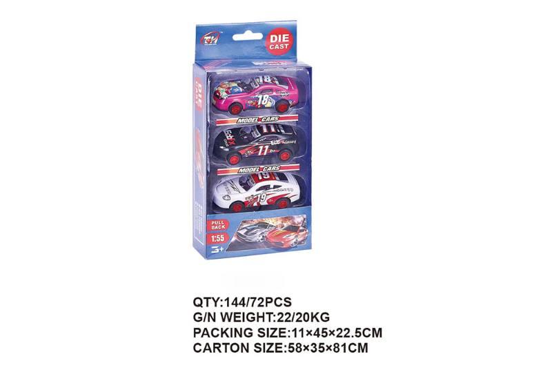 1:55 Pullback Metal Racing 3 Pack Pullback Toy Car NO.TA262473