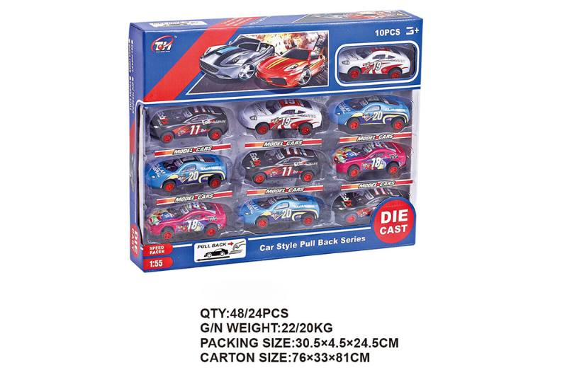1:55 pull back iron racing car 6 Pack Pull back toy car NO.TA262476