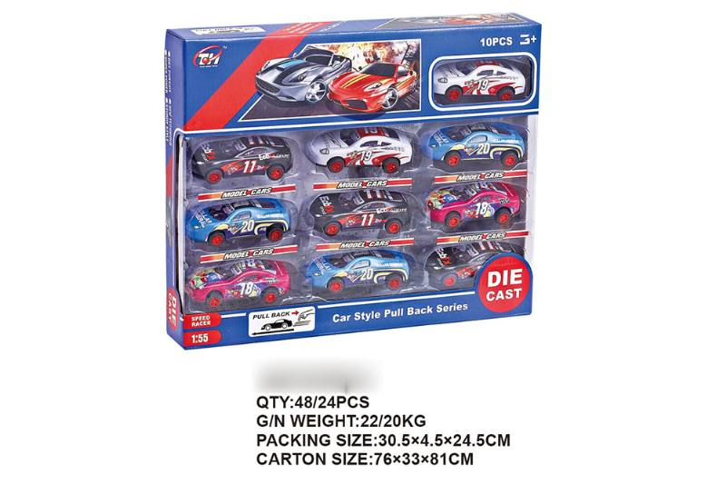 1:55 pull back iron racing car 10 Pack Pull back toy car NO.TA262477