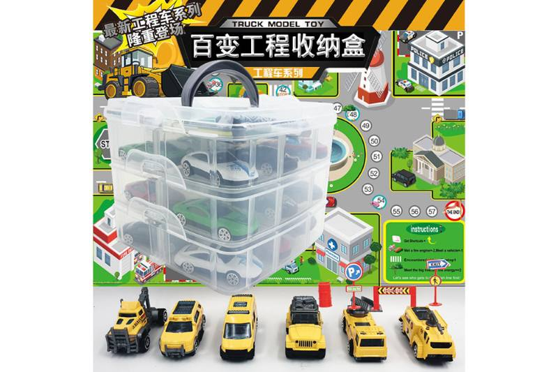 6 new engineering alloy car storage boxes with map road signs NO.TA262786