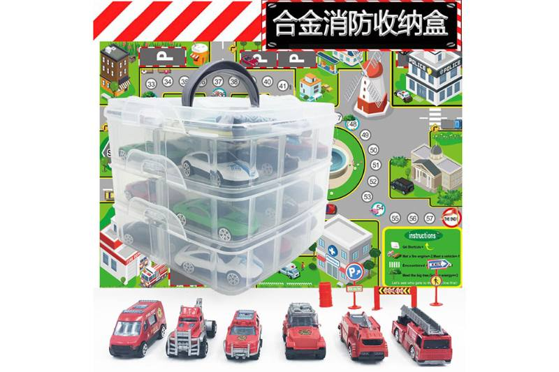 6 new fire alloy car storage boxes with map road signs NO.TA262787