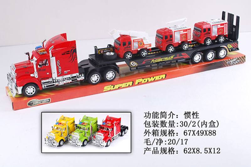 Simulation inertia engineering vehicle toy tractor towing 3 sliding small fire No.TA255570
