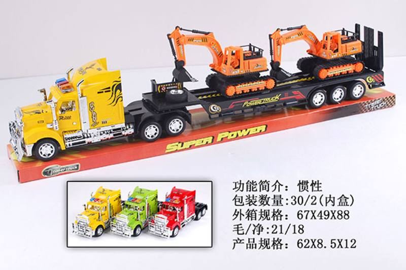 Trailer towing 2 sliding engineering vehicles No.TA255574