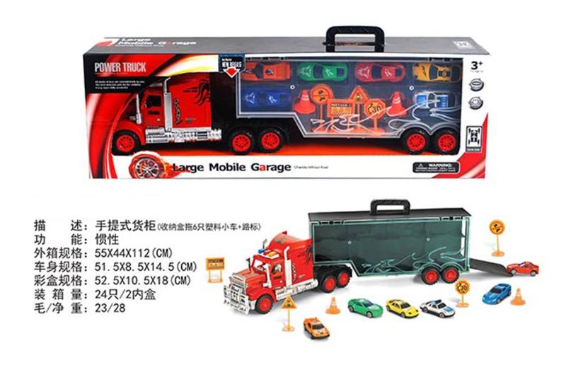Portable container truck (towing 6 plastic trolleys + road signs) No.TA255605