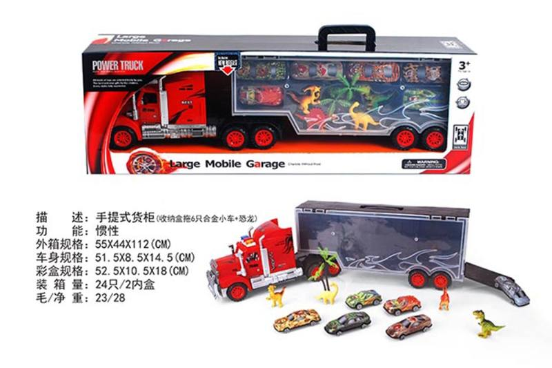 Portable container truck (towing 6 alloy cars + dinosaurs) No.TA255606