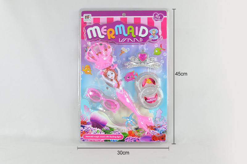 Doll toy magical mermaid with light with crown glasses bracelet No.TA260516