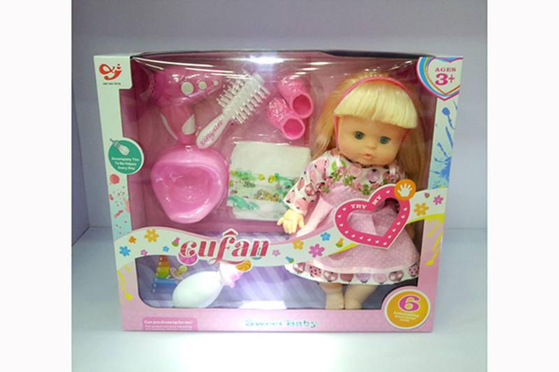 Vinyl doll toys 14 inch silicone gel pee baby girl (flower skirt) + IC No.TA257003