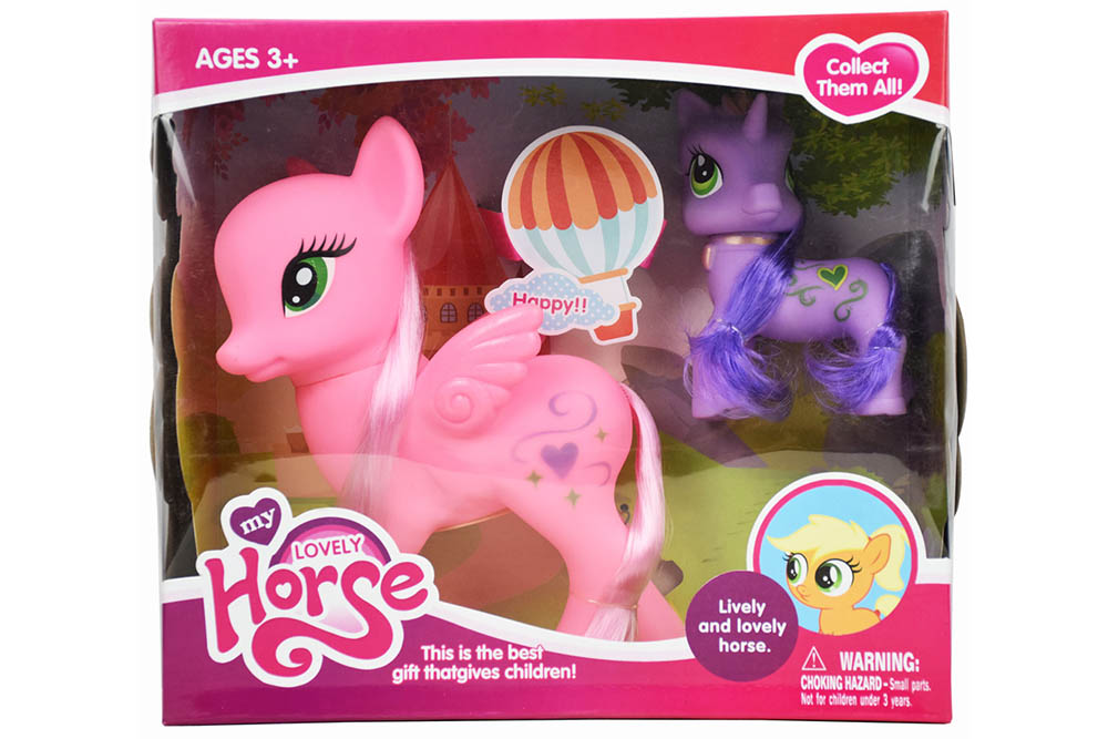 Vinyl toys big flying horse with small color horse with light music No.TA261152