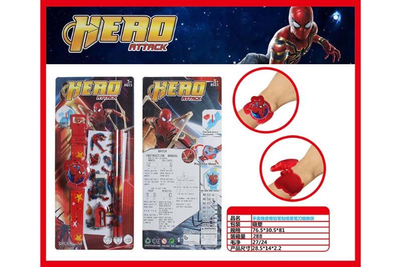 Spiderman Watch with Pencil Eraser Pencil Sharpener Sticker No.TA260706