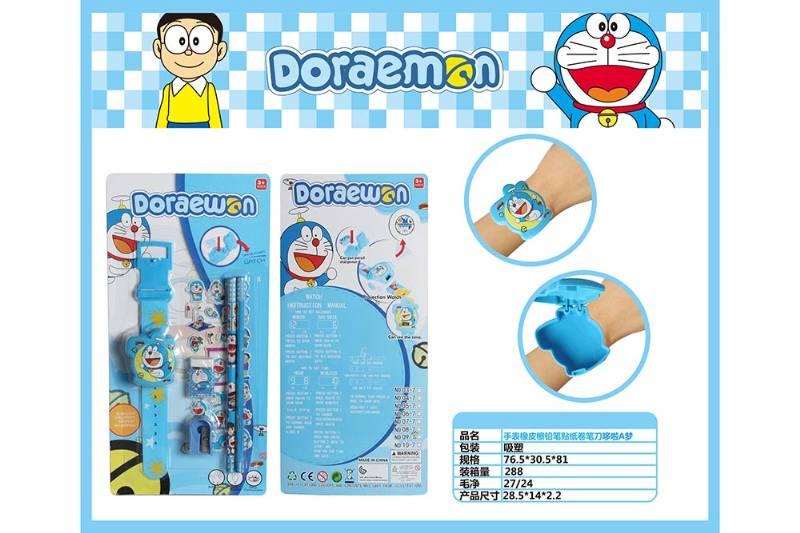 Doraemon Watch with Pencil Eraser Pencil Sharpener Sticker No.TA260707