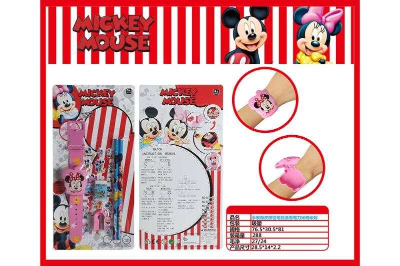 Mickey Watch with Pencil Eraser Pencil Sharpener Sticker No.TA260708