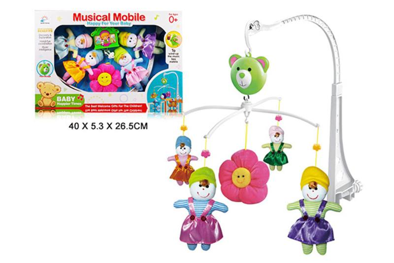 Wind up baby musical hanging bell baby mobile plastic cloth doll No.TA255288