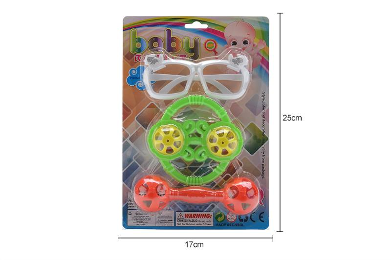 Baby early education educational toys glasses with round rattle and double hamme No.TA258217