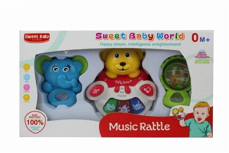 New baby puzzle rattle Music bear rattle (3 sets) light, music, animal sound No.TA259117