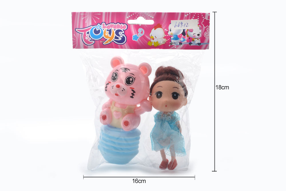 Baby Early Learning Puzzle Rattle Toy Cartoon Airbag BB Rattle (Tiger) + Barbie No.TA261608