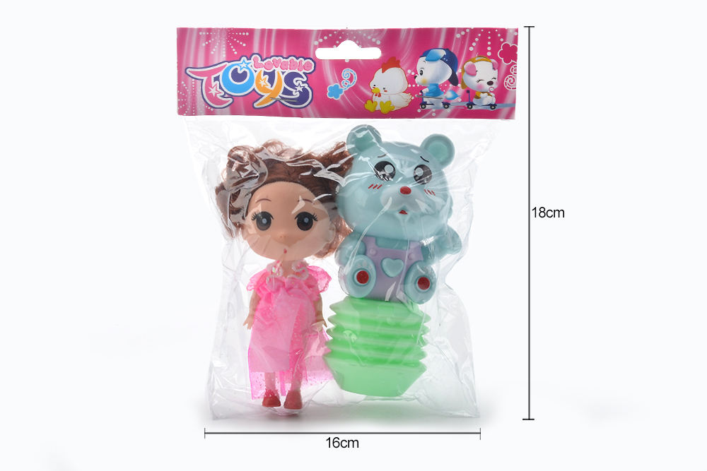 Baby Early Learning Puzzle Rattle Toy Cartoon Airbag BB Rattle (Bear) + Barbie No.TA261609
