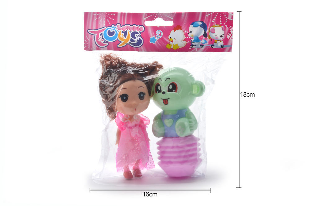Baby Early Learning Puzzle Rattle Toy Cartoon Airbag BB Rattle (Monkey) + Barbie No.TA261610