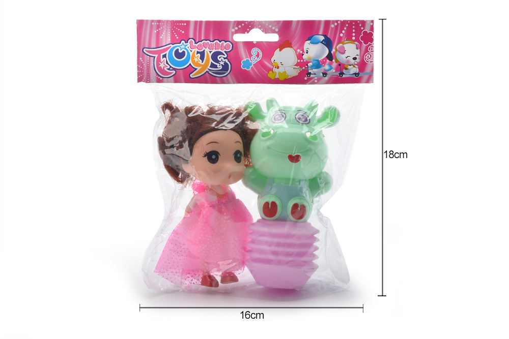 Baby early education puzzle rattle toy cartoon airbag BB rattle (cow) + Barbie No.TA261612