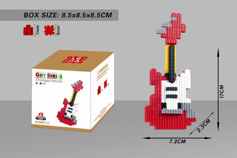 Educational Toys Microparticle Building Blocks - Red Guitar NO.TA262625