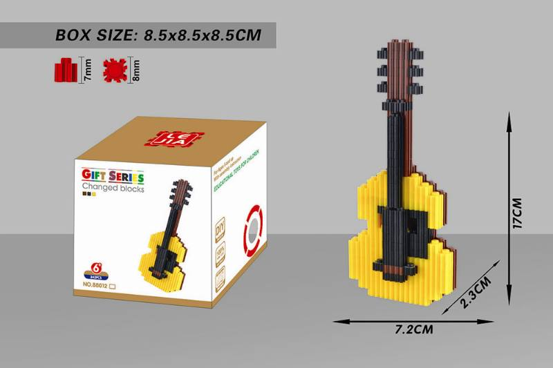 Educational Toys Microparticle Building Blocks - Yellow Guitar NO.TA262626