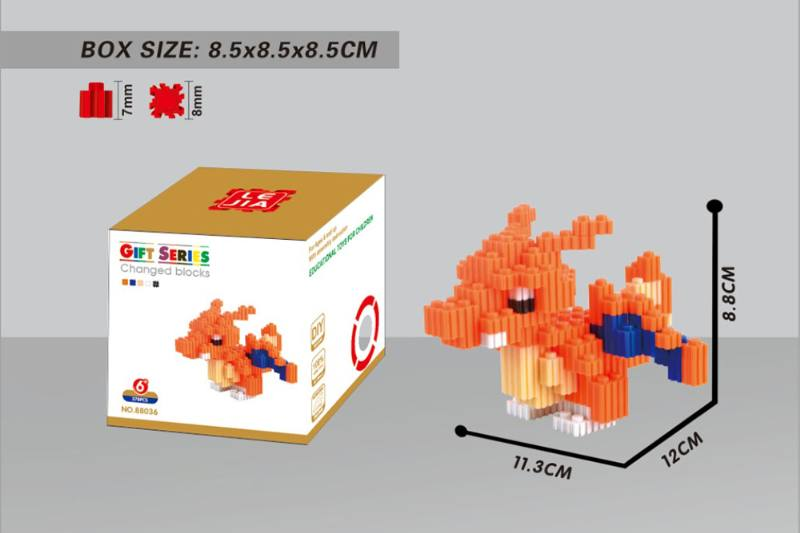 Puzzle blocks Micro-particle blocks - Fire-breathing dragon NO.TA262679