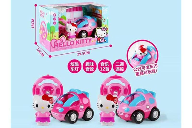 Cartoon remote control toy KT cat 2 channel remote control car with light music No.TA255106