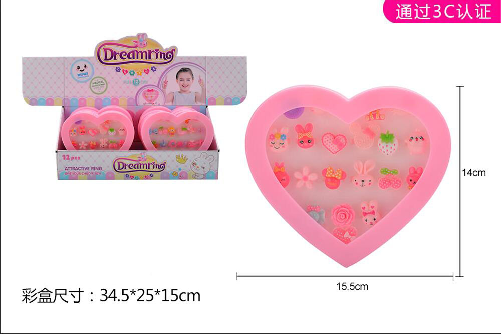 Beaded Jewelry Beads Heart Ring Box (12 boxes) No.TA261560