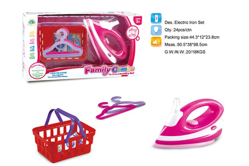 Play house toy electric iron hanger basket set No.TA255013
