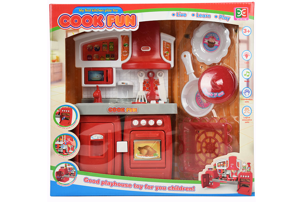Pretend play house toys splittable cabinets red with light music No.TA261125