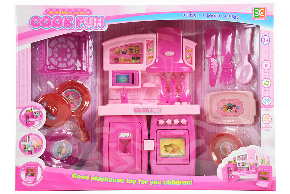 Pretend play house toys split cabinets pink with light music No.TA261126