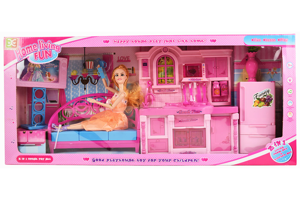 Pretend play house toys Kitchen + Barbie + Sofa TV Refrigerator Barbi Charged Li No.TA261130