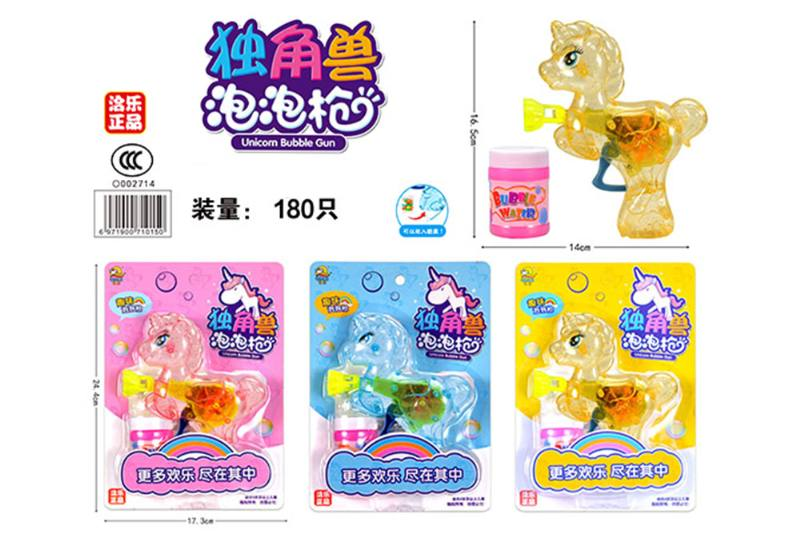 Inertial transparent with light unicorn bubble gun (can hold candy, 3 colors) NO.TA262885