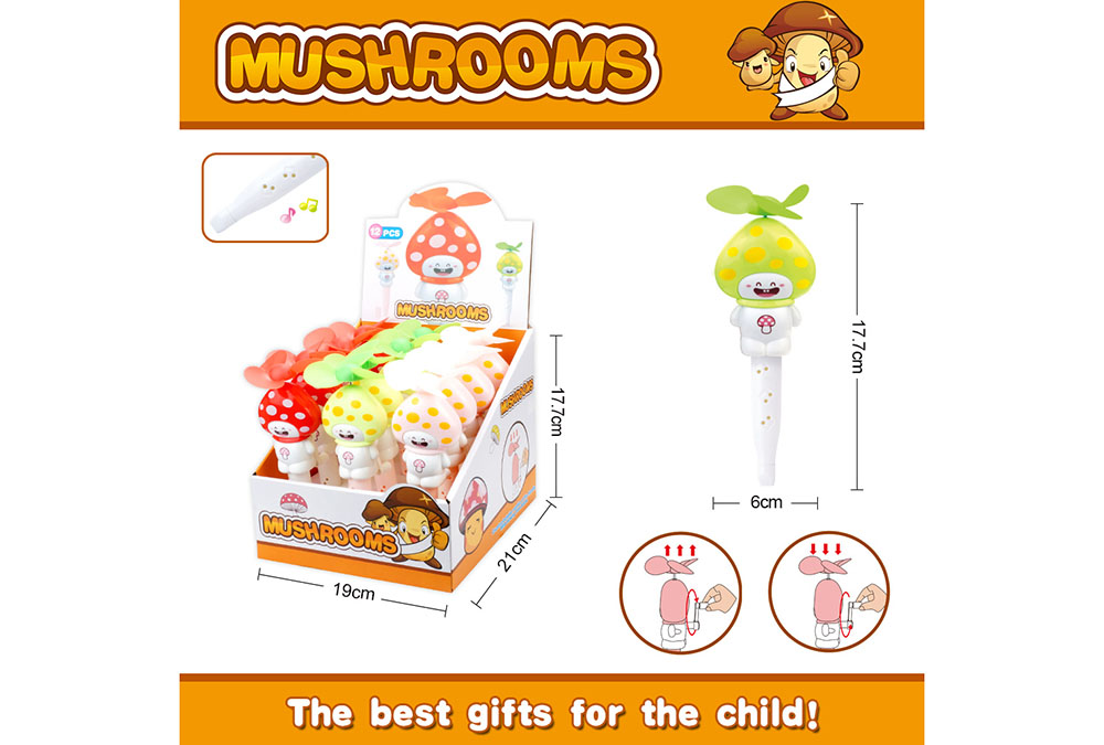 Fan toy mushroom with whistle hand fanNo.TA255906