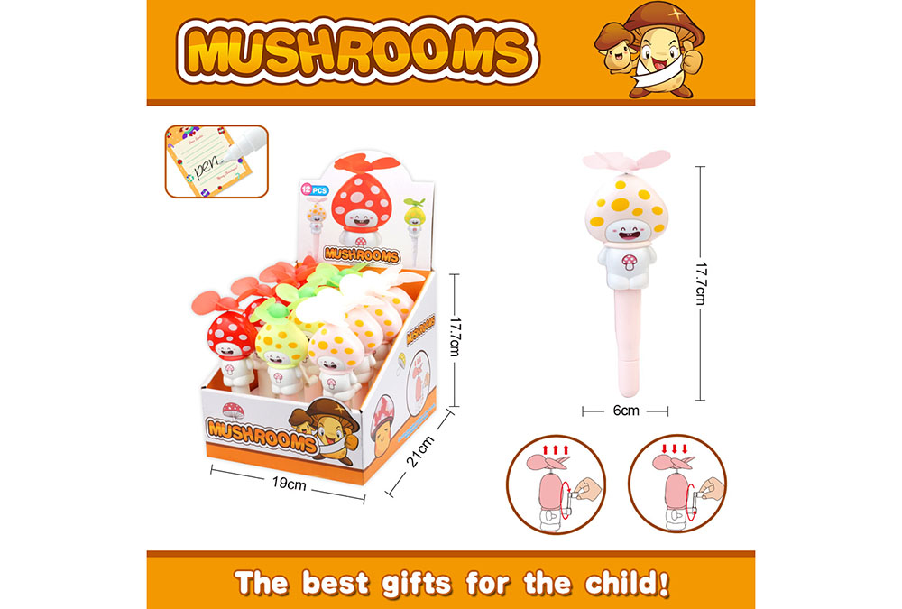 Fan toy mushroom with pen hand fanNo.TA255907